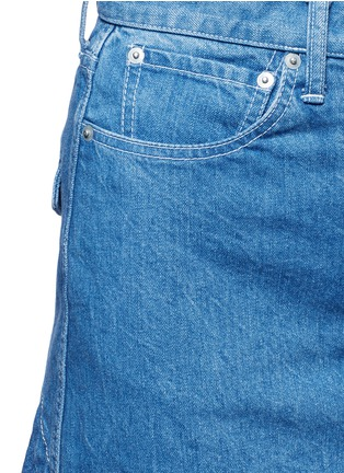 Detail View - Click To Enlarge - Sacai - 'Runway' raw edge denim flare skirt