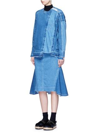 Figure View - Click To Enlarge - sacai - 'Runway' raw edge denim flare skirt