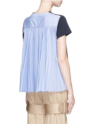 Back View - Click To Enlarge - Sacai - Pleated colourblock back cotton T-shirt