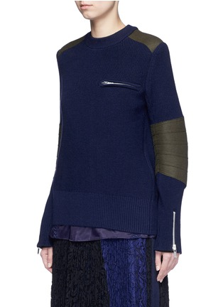 Front View - Click To Enlarge - SACAI - Back split rib knit sweater