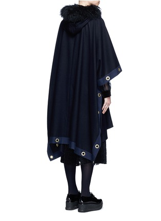 Back View - Click To Enlarge - Sacai - Grommet trim belted wool poncho