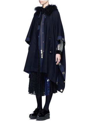 Figure View - Click To Enlarge - Sacai - Grommet trim belted wool poncho