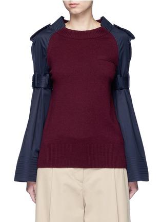 Main View - Click To Enlarge - SACAI - Strap raglan sleeve wool top