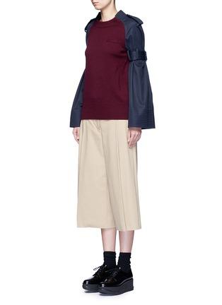 Figure View - Click To Enlarge - SACAI - Strap raglan sleeve wool top