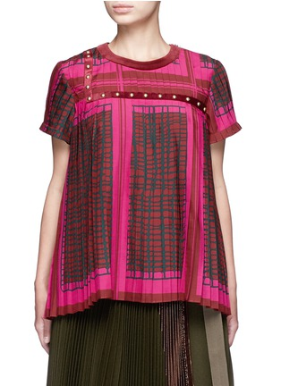 Main View - Click To Enlarge - Sacai - Grid check stud trim pleated top