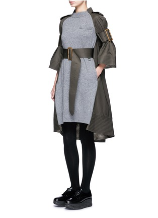 Figure View - Click To Enlarge - Sacai - 'Runway' sleeve strap knit front top