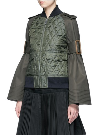 Front View - Click To Enlarge - Sacai - Sleeve strap quilted bomber jacket