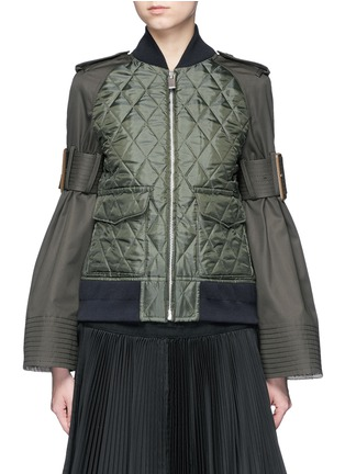 Main View - Click To Enlarge - Sacai - Sleeve strap quilted bomber jacket
