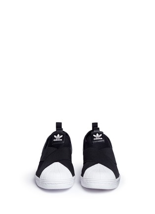 Front View - Click To Enlarge - ADIDAS - 'Superstar' crisscross band neoprene slip-ons