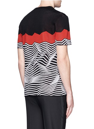 Back View - Click To Enlarge - NEIL BARRETT - Angular stripe knit top