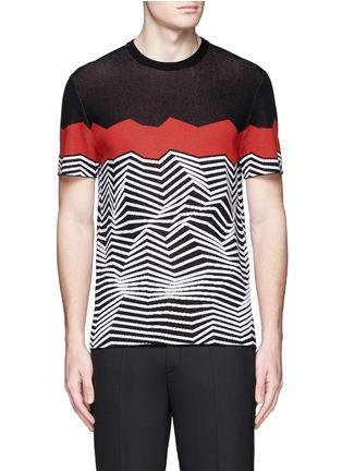 Main View - Click To Enlarge - Neil Barrett - Angular stripe knit top