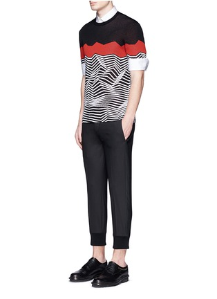 Figure View - Click To Enlarge - NEIL BARRETT - Angular stripe knit top
