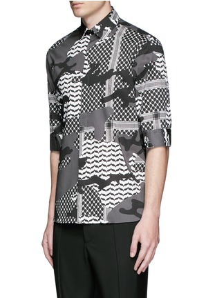 Front View - Click To Enlarge - Neil Barrett - Keffiyeh check camouflage print cotton shirt