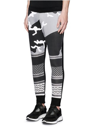 Front View - Click To Enlarge - Neil Barrett - Keffiyeh wave camouflage bonded jersey jogging pants