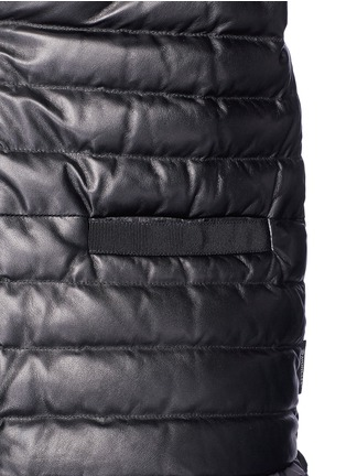 Detail View - Click To Enlarge - Moncler - 'OMBRINE' RUFFLE HEM PADDED LEATHER JACKET