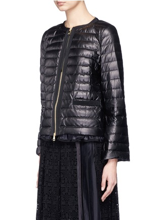 Front View - Click To Enlarge - Moncler - 'OMBRINE' RUFFLE HEM PADDED LEATHER JACKET