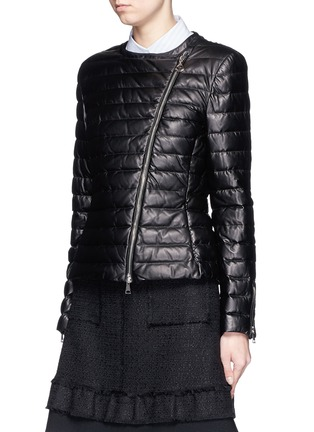 Front View - Click To Enlarge - Moncler - 'Palomete' asymmetric zip padded leather jacket