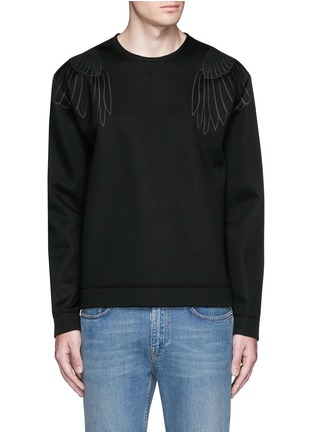 Main View - Click To Enlarge - Valentino - Hawk fused print scuba jersey top