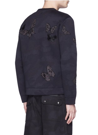 Back View - Click To Enlarge - Valentino - 'Camubutterfly Noir' embroidery appliqué neoprene sweatshirt