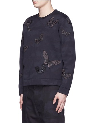 Front View - Click To Enlarge - Valentino - 'Camubutterfly Noir' embroidery appliqué neoprene sweatshirt