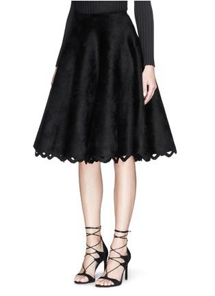 Front View - Click To Enlarge - Alaïa - 'Trigone' zigzag hem velour flared midi skirt