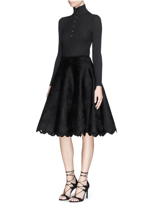 Figure View - Click To Enlarge - Alaïa - 'Trigone' zigzag hem velour flared midi skirt
