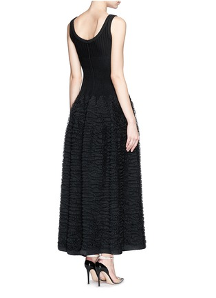 Back View - Click To Enlarge - Alaïa - 'Libellule' frill mesh knit maxi dress