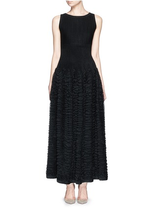 Main View - Click To Enlarge - Alaïa - 'Libellule' frill mesh knit maxi dress