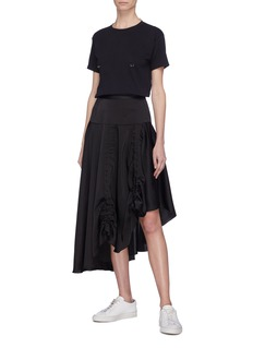 Quibe  Abstract embroidered ruched asymmetric drape skirt
