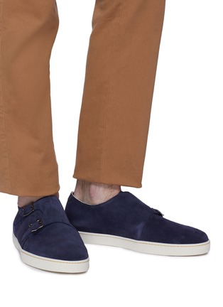 Figure View - Click To Enlarge - JOHN LOBB - 'Holme' double monk strap suede sneakers