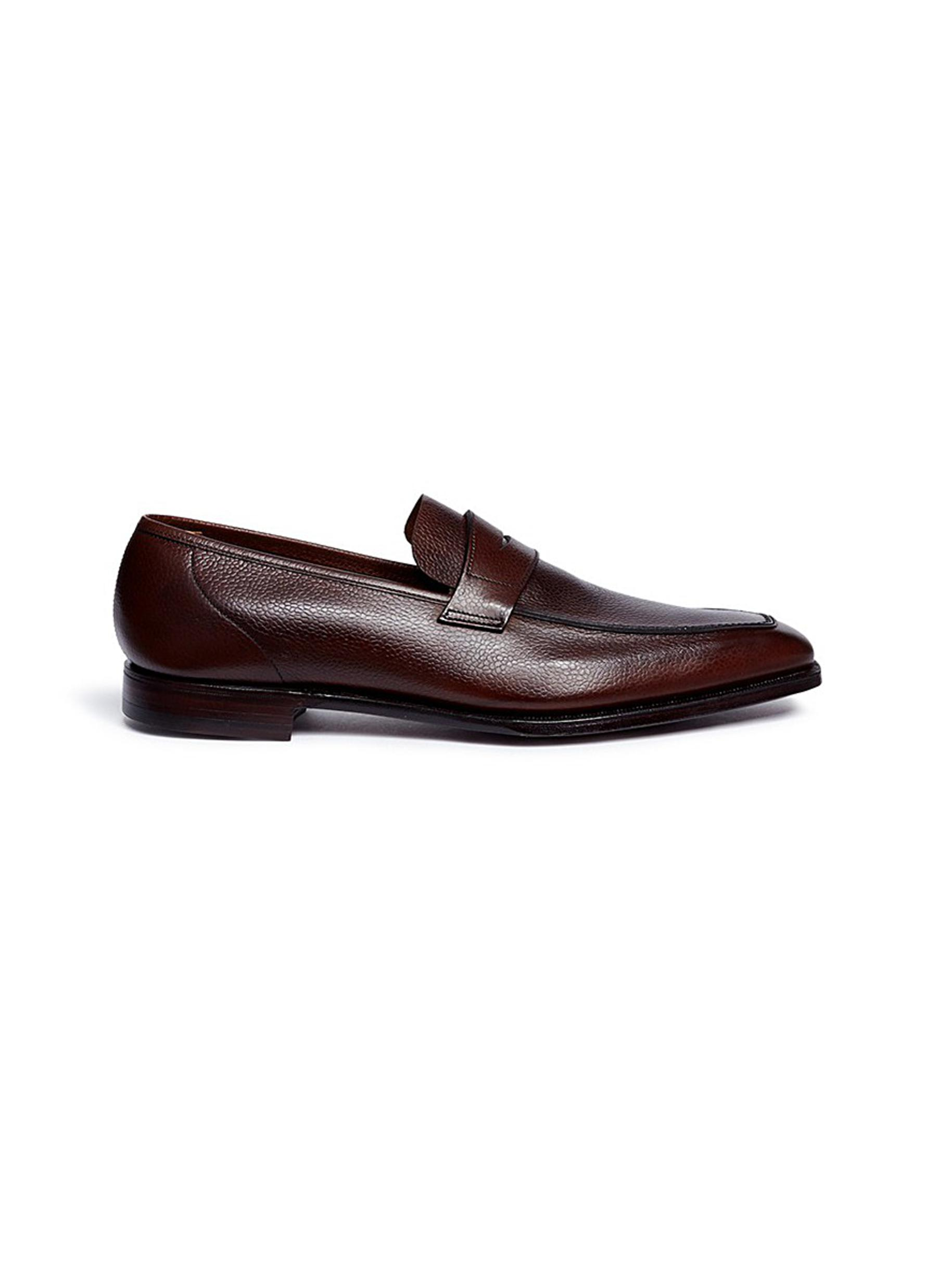 George Scotch grain leather penny loafers by George Cleverley