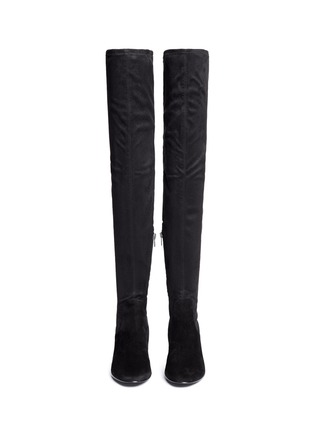 Front View - Click To Enlarge - Ash - 'Elisa' stretch faux suede thigh high boots