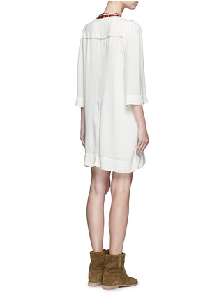 Back View - Click To Enlarge - ISABEL MARANT ÉTOILE - 'Clara' tassel tie ethnic embroidery crepe dress