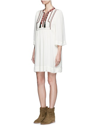 Figure View - Click To Enlarge - ISABEL MARANT ÉTOILE - 'Clara' tassel tie ethnic embroidery crepe dress