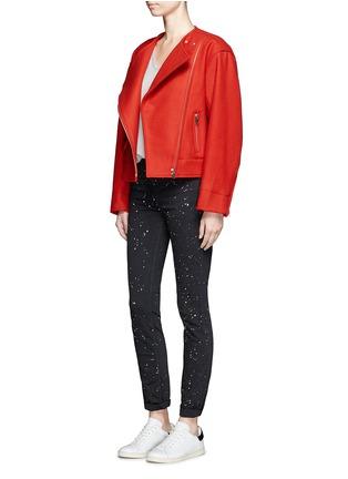 Figure View - Click To Enlarge - ISABEL MARANT ÉTOILE - 'Esther' felted virgin wool-cashmere biker jacket