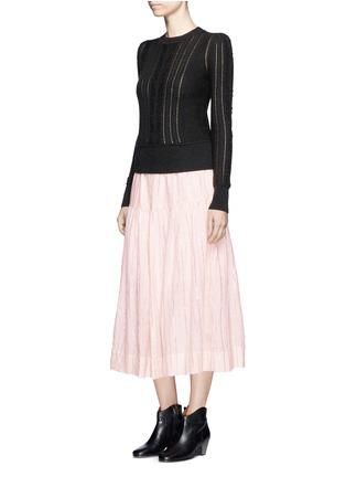 Figure View - Click To Enlarge - Isabel Marant Étoile - 'Silvio' metallic stripe drawstring waist midi skirt
