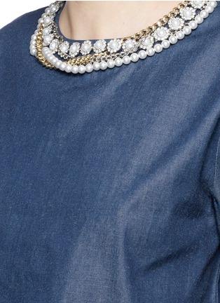 Detail View - Click To Enlarge - FORTE COUTURE - Faux pearl diamanté chain neck cropped top