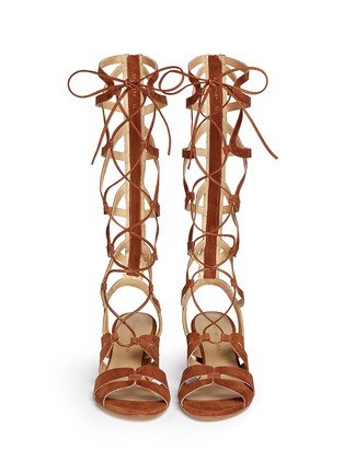Front View - Click To Enlarge - Stuart Weitzman - 'Grecian' lace-up suede gladiator sandals