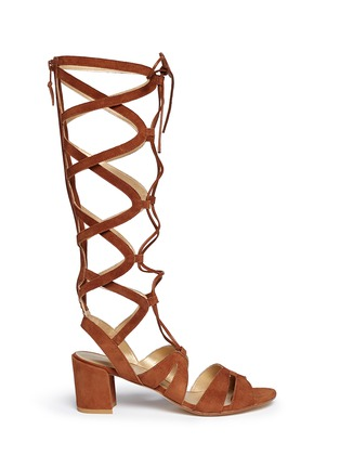 Main View - Click To Enlarge - Stuart Weitzman - 'Grecian' lace-up suede gladiator sandals