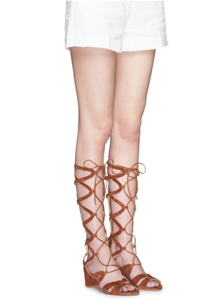 Figure View - Click To Enlarge - Stuart Weitzman - 'Grecian' lace-up suede gladiator sandals