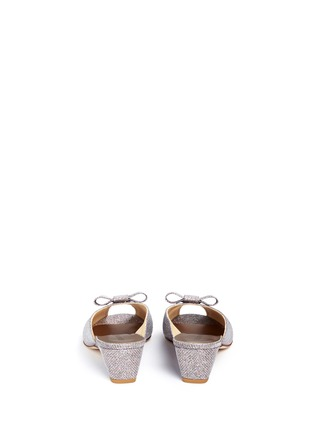Back View - Click To Enlarge - Stuart Weitzman - 'Candy' bow peep toe glitter mules