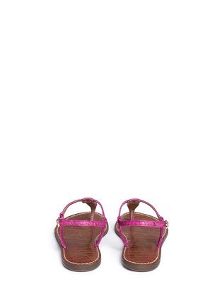 Back View - Click To Enlarge - Sam Edelman - 'Gigi' croc embossed T-strap flat sandals