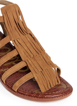 Detail View - Click To Enlarge - Sam Edelman - 'Estelle' fringe caged suede sandals