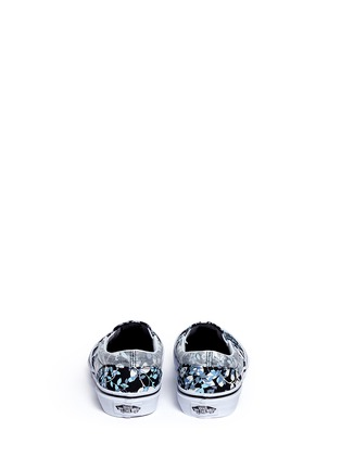 Back View - Click To Enlarge - Vans - 'Classic' reverse floral print kids slip-ons