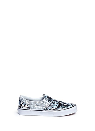 Main View - Click To Enlarge - Vans - 'Classic' reverse floral print kids slip-ons