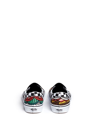 Back View - Click To Enlarge - Vans - 'Classic Late Night' burger print canvas slip-ons