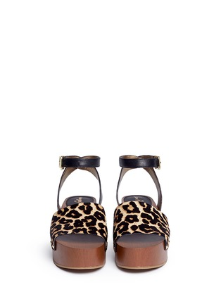 Front View - Click To Enlarge - SAM EDELMAN - 'Brynn' leopard print calfhair wooden platform sandals