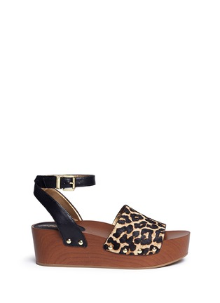 Main View - Click To Enlarge - Sam Edelman - 'Brynn' leopard print calfhair wooden platform sandals