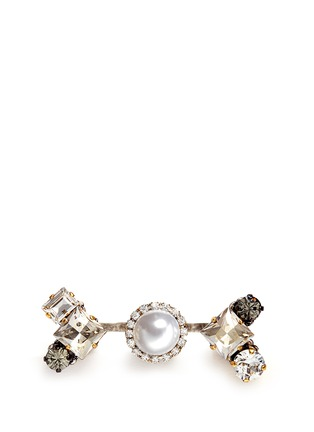 Main View - Click To Enlarge - Erickson Beamon - 'Hunger' Swarovski crystal glass pearl two finger ring