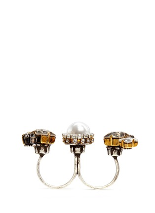 Figure View - Click To Enlarge - Erickson Beamon - 'Hunger' Swarovski crystal glass pearl two finger ring